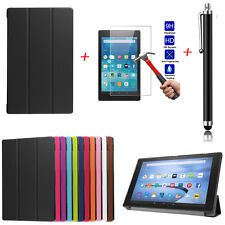 360 Folio Stand Real PU Leather Case Cover For Kindle Fire 7 HD8 HD10 HD 8 2016