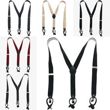 Mens Womens Trousers Leather Button Suspenders Adjustable Y-Back Braces Unisex