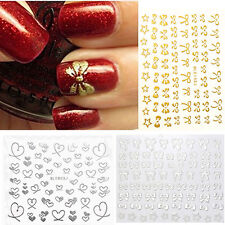 Christmas 3D Bowknot Heart Nail Art Sticker DIY Decoration Manicure Decal Tips