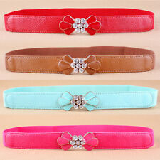 Women Rhinestones Flowers Buckle Slim Waist Belt Crystals Skinny Waistband NY054