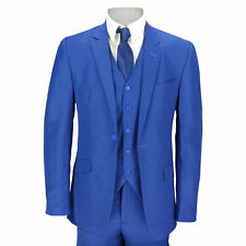 New Mens 3 Piece Suit Royal Blue Tailored Fit Smart Casual Formal Wedding Party