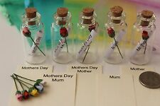 Small Glass Wish/Message in a Bottle Gift - Mothers Day, Mum, Mother, I Love You