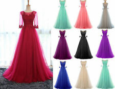 Sexy Long Tulle Bridesmaid Prom Dress Formal Wedding Evening Party Gown Size6-18