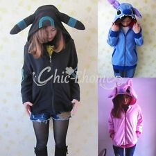 Unisex Anime Pokemon Umbreon Zip Hoodie Cosplay Costume Jacket Top Coat Outwear