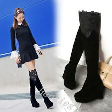 New Womens Round Toe Over Knee thigh Boots High Wedges Heels Shoes Lace Booties
