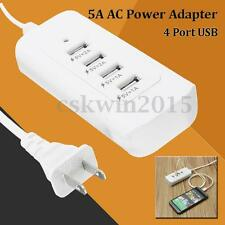 4 Port USB 5A AC Power Adapter Portable Home Travel Wall Charger US Plug+Adapter