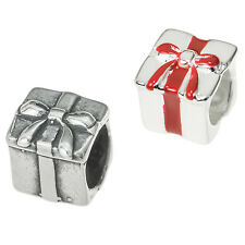 Sterling Silver Christmas Present Gift Box Bead for European Charm Bracelets 8mm