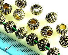 ANTIQUE GOLD~RONDELLE~TIBETAN STYLE~EUROPEAN~SPACER BEADS~ 8 x 6 MM~4 MM HOLE