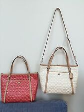 NWT Coach Peyton Signature C Embossed Patent Leather Pocket Tote Pink White New