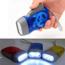 3 LED Hand Pressing Crank Power Flashlight Travel Outdoor Camping Torch Lamp