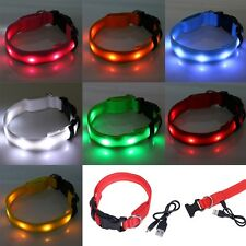 USB Rechargeable Flashing Adjustable Safety Nylon LED Dog Collar Pet Neck Belt