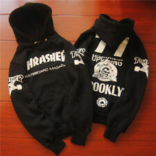 men's hoodie sweater Hip-hop skateboard Black Thrasher Fleece Sweatshirts