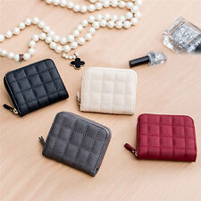 Womens Zipper Clutch Short Wallet PU Leather Coin Purse Nubuck Plaid Card Holder