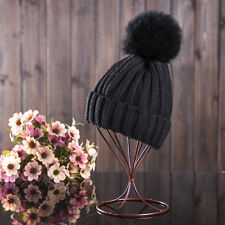 Autumn Winter Women Real Fox Fur Large Pom Pom Crochet Knitted Hat Beanie Cap