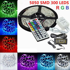 5050 RGB 5M LED SMD 300 LEDS Strip Light 12V DC IR Controller Power Adapter
