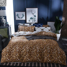LEOPARD ANIMAL PRINT DOUBLE QUEEN SIZE BED QUILT DOONA COVER SET 100%COTTON 2821