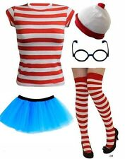 RED WHITE STRIPED TSHIRT SET Ladies Fancy Dress Outfit Wheres Nerd Geek Costume