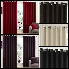 Samson Lined Eyelet Curtains Plain Faux Suede Velvet Ready Made Pair Ring Top