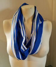 New Women's Tube Scarf By Icon Blue & White Stripes Nautical For All Seasons