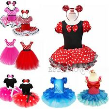 NEW BABY KIDS MINNIE MOUSE COSTUME TUTU FANCY DRESS WITH EARS 2-10Y