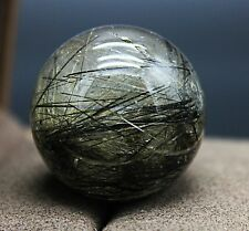 29mm Polished Green Rutilated Quartz Crystal Sphere Ball Healing