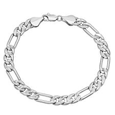 Rhodium Plated 7mm Diamond-Cut Accented Figaro Link Chain Bracelet