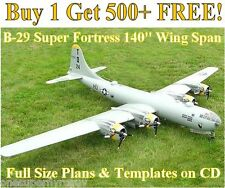 "B-29 Super Fortress 140"" WS Giant Scale RC Airplane Plans & Templates on CD"