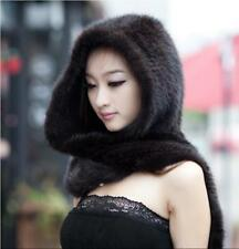 New Genuine Mink Fur Scarf Cape Stole Shawl Wraps Hat Knitted Women Coat BD63564