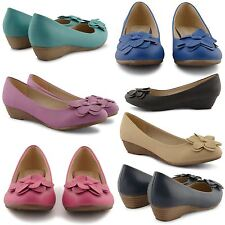 LADIES LOW HEEL WEDGE COURT SHOES WOMENS BALLET BALLERINA SLIP ON LOAFER SHOES