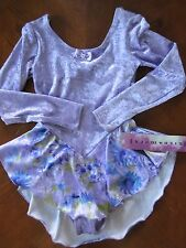 GILDA MARX GIRLS Sz 12-14 LT. PURPLE ICE SKATING DRESS WITH FLORALSKIRT BOW BACK