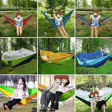 Portable Hammock With Mosquito Net Outdoor Camping Parachute Fabric Swing Bed