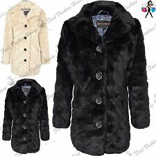 Womens Full Fur Faux Long Sleeve Button Ladies Collared Warm Winter Coat Jacket