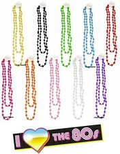 KIDS 1980's NEON UV LONG BEADS NECKLACE 80's FANCY DRESS PARTY FOR TUTU DANCE