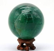 "2.91"" 677g Polished Green Fluorite Quartz Crystal Sphere Ball w/Rosewood Stand"