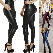 Hot Sexy Womens Lady Sexy Skinny Tight Hight Waist Faux Leather Leggings Pants