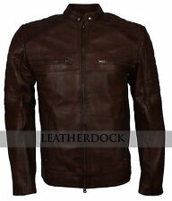 Men Dark Brown Cafe Racer Racer Vintage Motorcycle Styled Biker Leather Jacket
