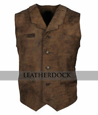 Men Designer Distressed Leather Vintage Motorcycle Casual Biker Vest Jacket