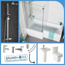 L Shaped Bathroom Suite 1500mm 1700mm Bath Basin Toilet Taps & Shower