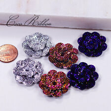 26mm 12 pcs Faux Rhinestone Flower Rose AB Color Flatback Resin Cabochons