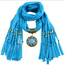Women's Fashion Winter Warm Tassel Scarf Crystal Jewelry Pendant Scarves Gift