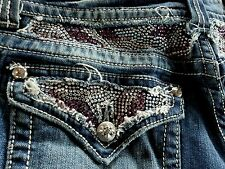 Miss Me jeans womens 32 x 34 Pink Crystals bling Boot Cut EUC