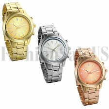 Men's Women's Gold Silver Tone Stainless Steel Band Analog Quartz Wrist Watch
