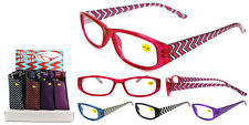 Plastic Color Reading Glasses with Zig Zag Design and Pouch