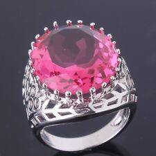 Brand New Oval Pink Sapphire 18K White Gold Filled Ring  Jewelry Size M/O/Q/R/T