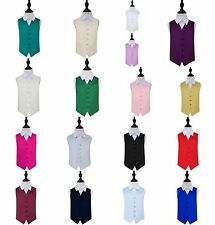 Boys Smooth Plain Satin Wedding Waistcoat Ages 2 - 14 from DQT (17 Colours)