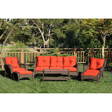 6 PC Outdoor Wicker Patio Furniture Set Resin Table Chairs Sofa Ottoman Backyard
