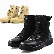 Mens Military Boots Army Tactical Combat Hiking Sport Trainers Leather Shoes