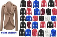 NEW WOMENS ONE BUTTON BLAZER OFFICE SUIT JACKET LONG SLEEVE SMART COAT TOP SlmJk