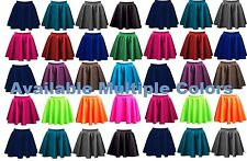 New Womens Ladies Skater Flared Jersey Plain Mini Short Party Dress Skirt -pnt