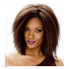 Medium long Auburn wigs ombre brown hair for Women Synthetic yaki Straight wigs